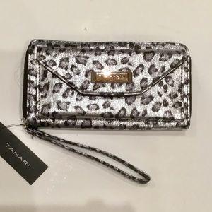 New Tahari Silver Leopard Zip Around Wallet